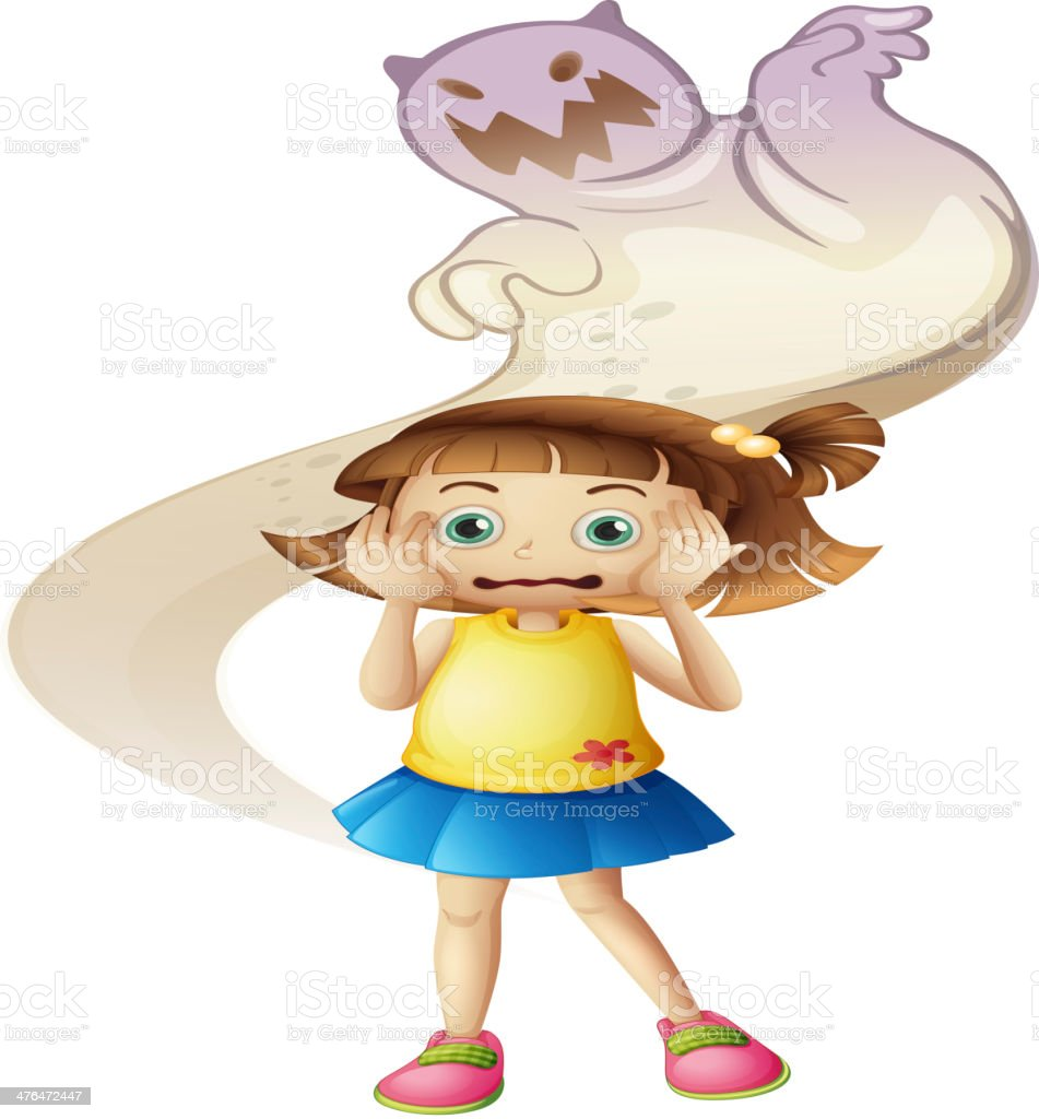 ghost scaring a young girl royalty-free stock vector art