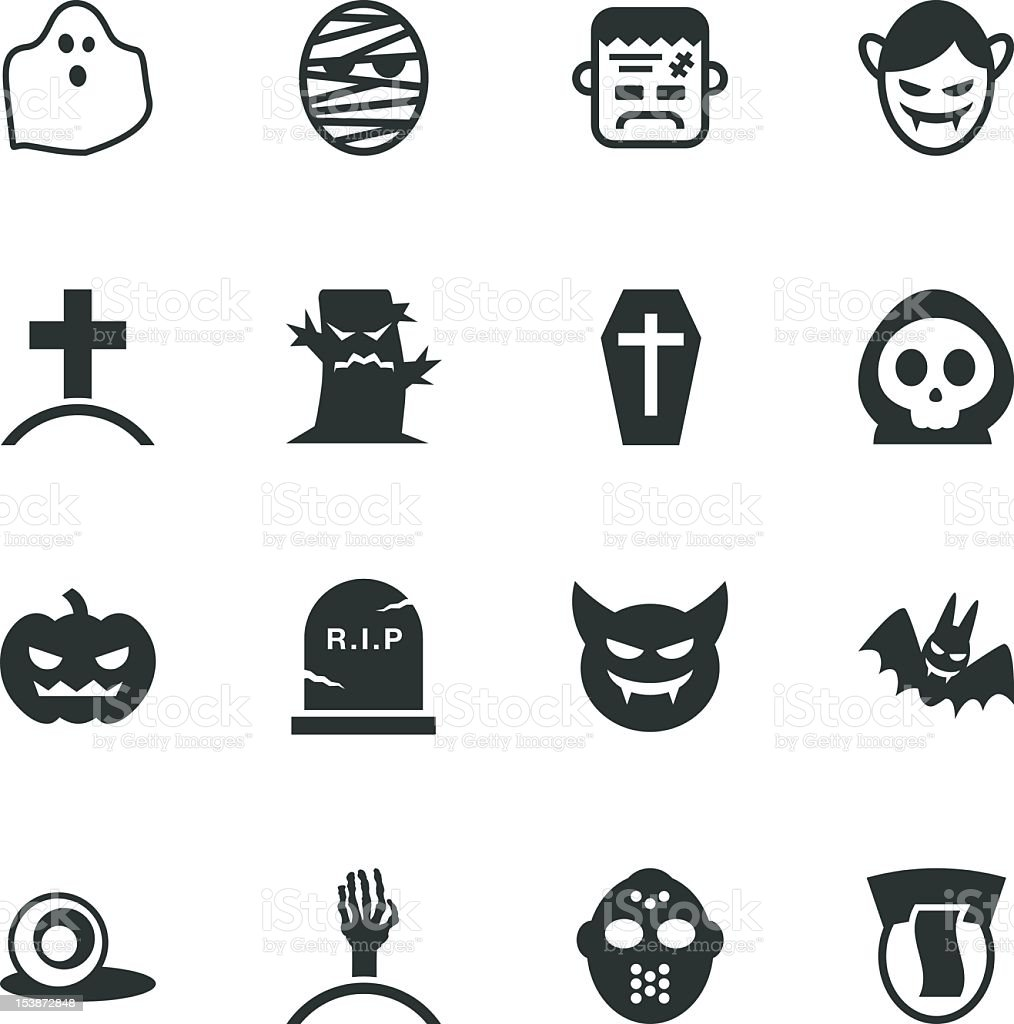 Ghost Silhouette Icons vector art illustration
