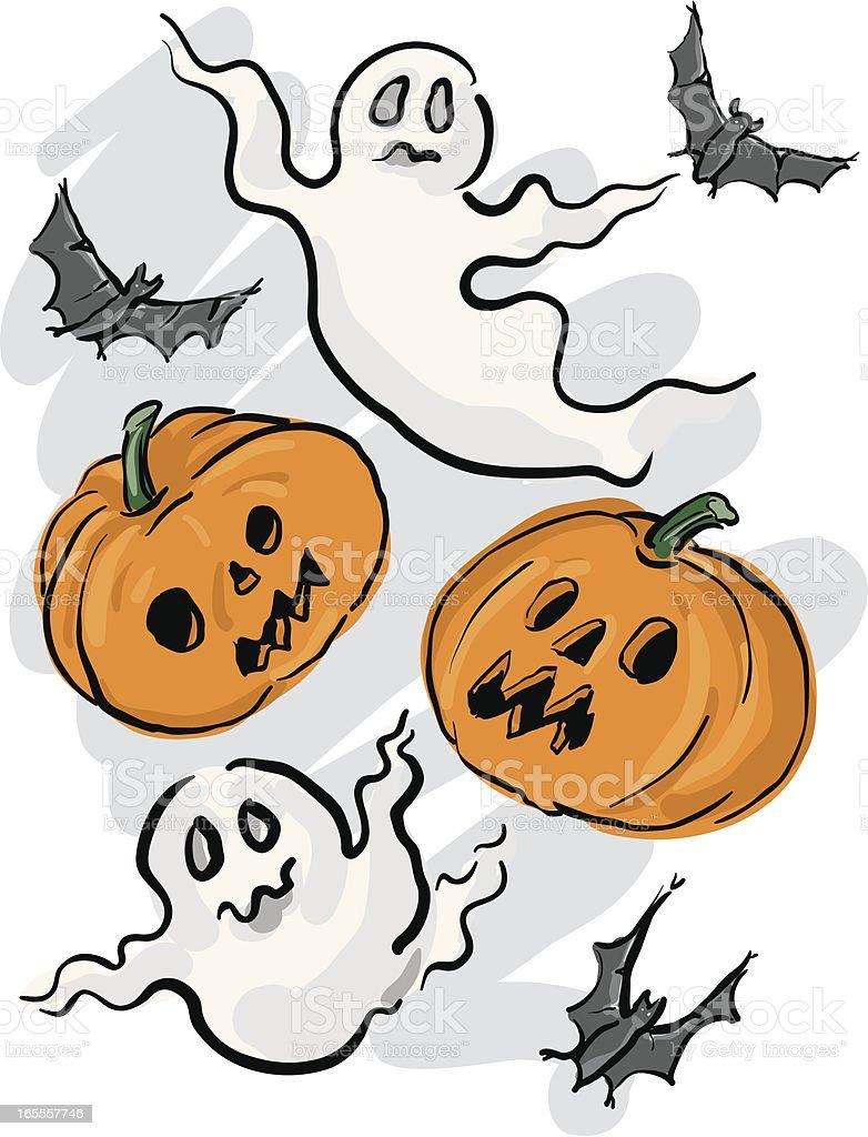 Ghosts, Bats and Jack O Lanterns royalty-free stock vector art