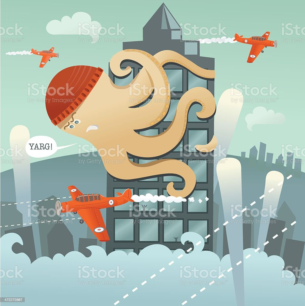 Giant Angry Octopus Climbing Tower with Planes Flying Around vector art illustration