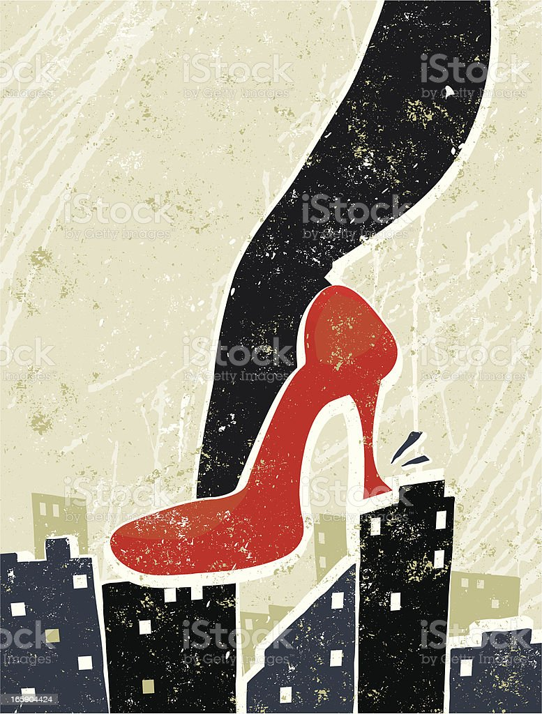 Giant Business Woman's Foot Crushing City Skyline royalty-free stock vector art