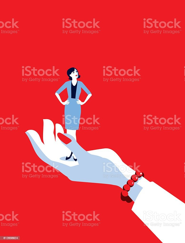Giant Business Woman's Hand Holding Tiny Businesswoman vector art illustration