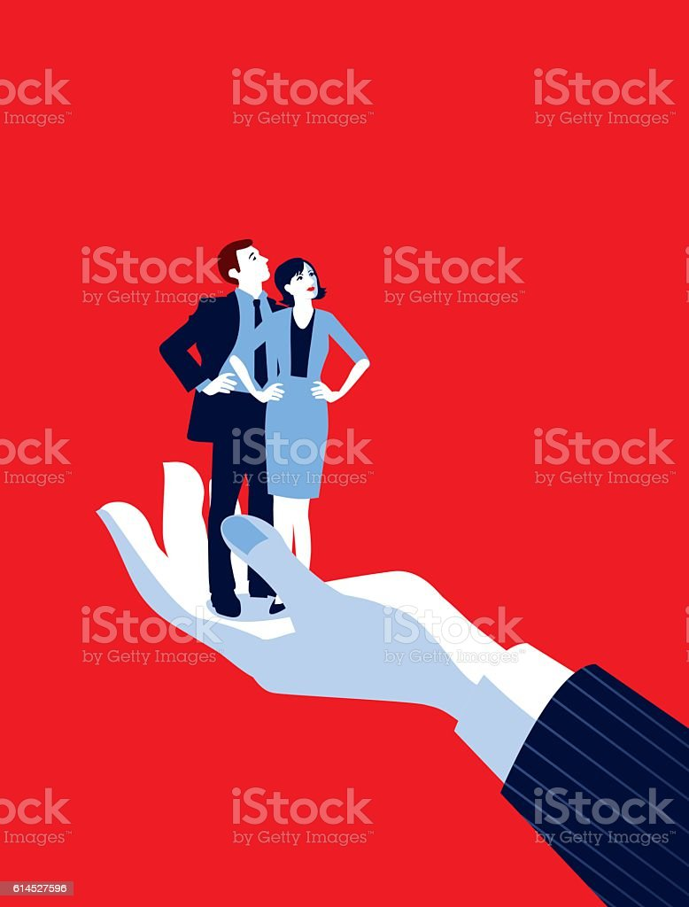 Giant Businessman's Hand Holding Tiny Businesswoman and Man vector art illustration