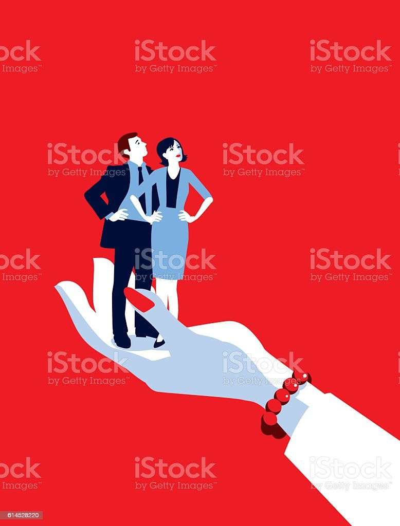 Giant Businesswoman's Hand Holding Tiny Businesswoman and Man vector art illustration