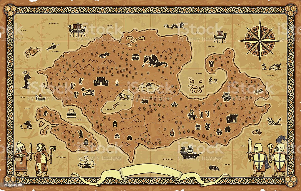 Giant Fantasy Map vector art illustration