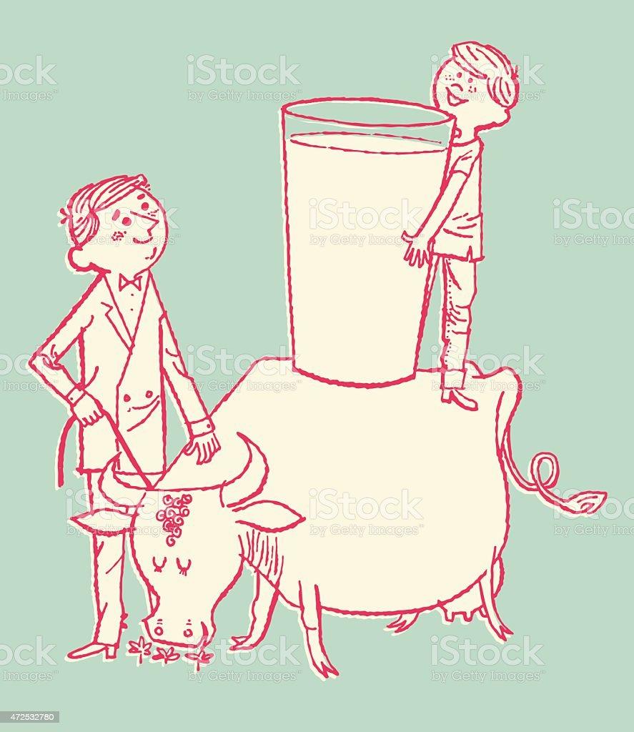 Giant Glass of Milk on Cow vector art illustration