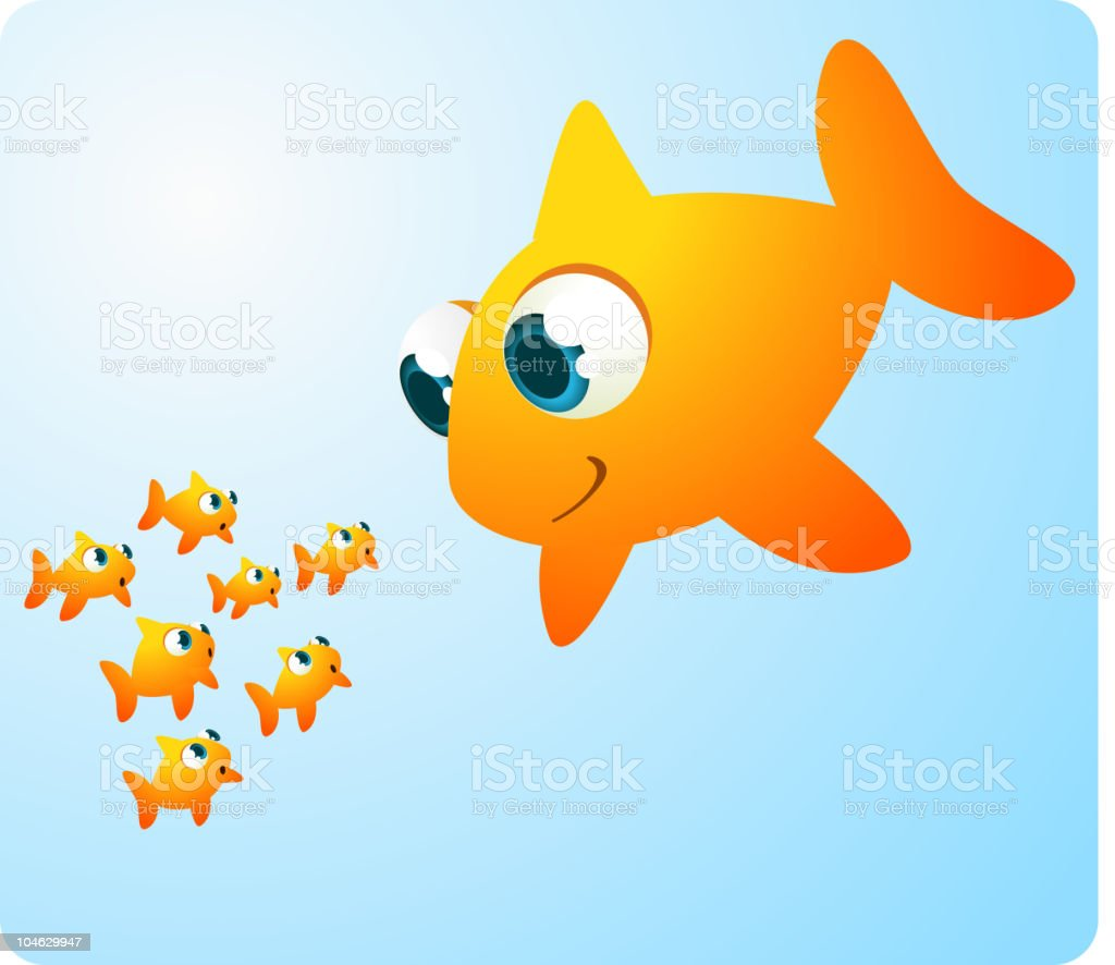 Giant Goldfish looking at 7 baby fish royalty-free stock vector art