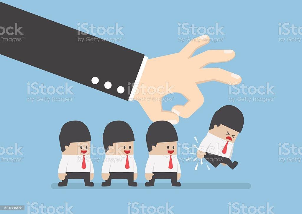 Giant hand flick businessman away vector art illustration