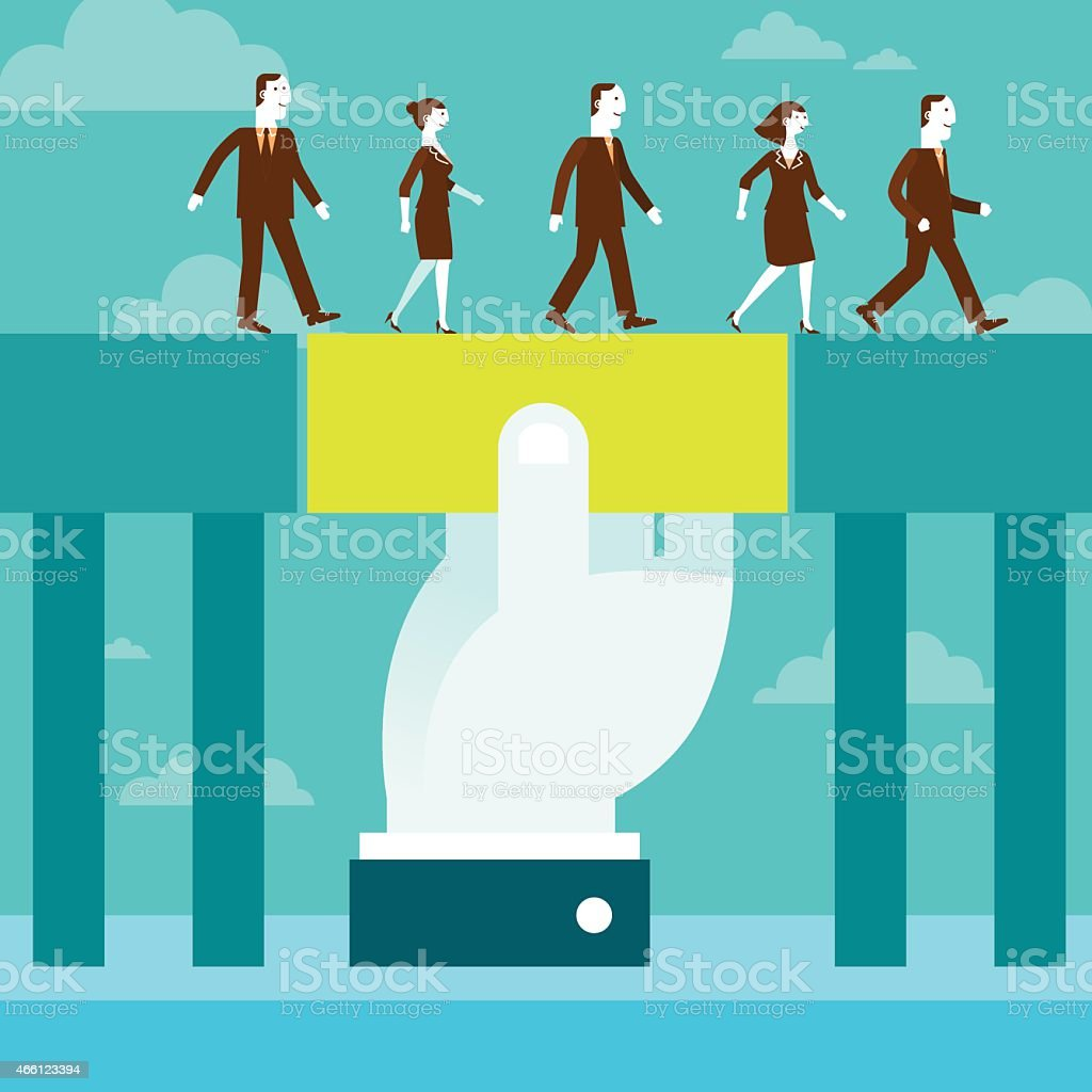 Giant Hand Holding Block Bridging For Business Team Concept vector art illustration