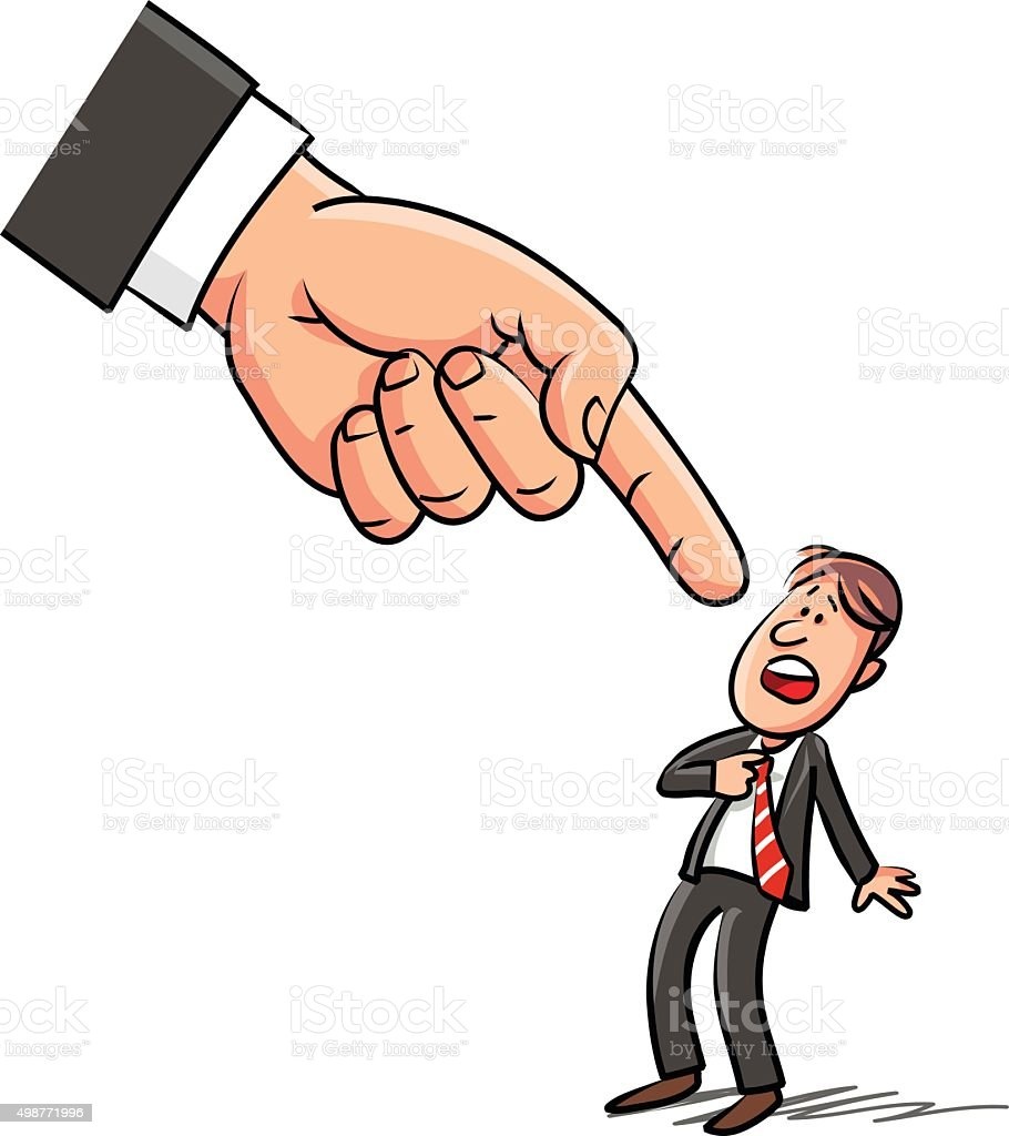 Giant Hand Pointing At Surprised Man vector art illustration