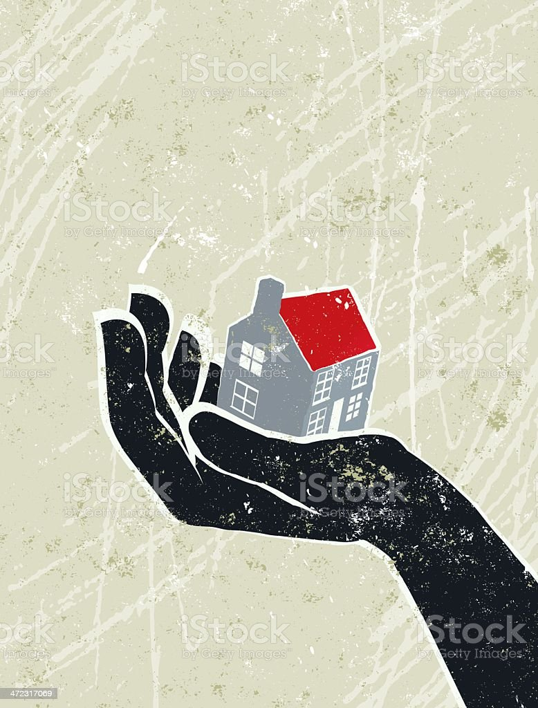 Giant Hand with a Tiny House on the Palm royalty-free stock vector art