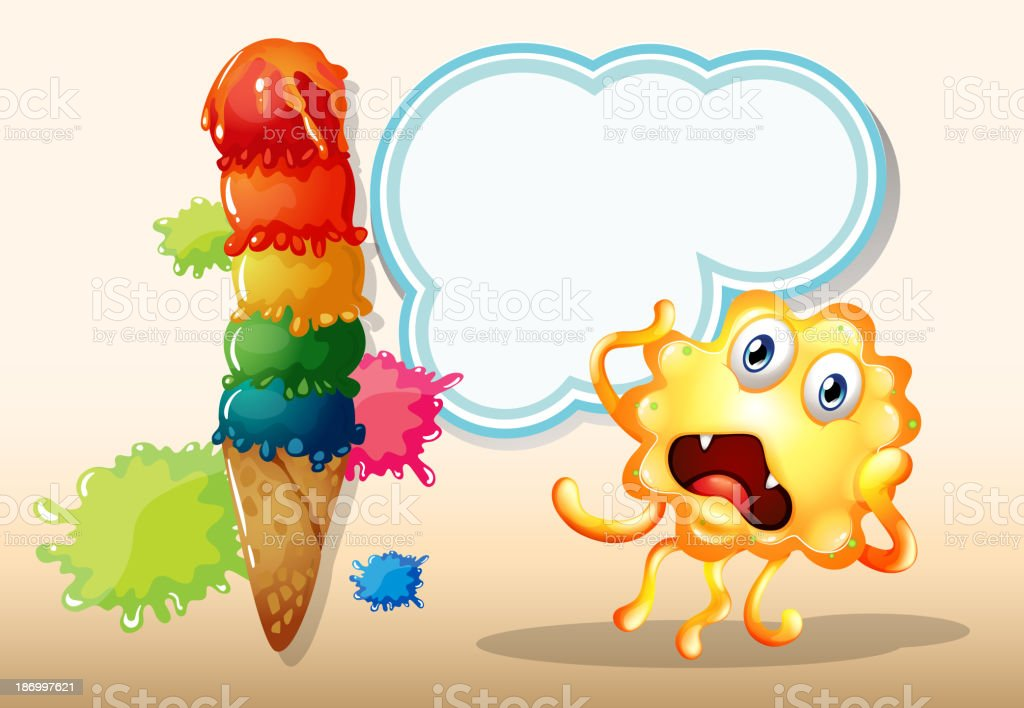 giant icecream beside monster in front of empty cloud template royalty-free stock vector art