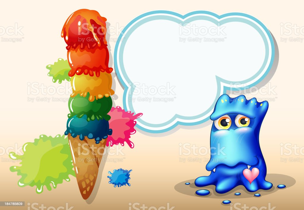 giant icecream beside the blue monster with an empty callout royalty-free stock vector art