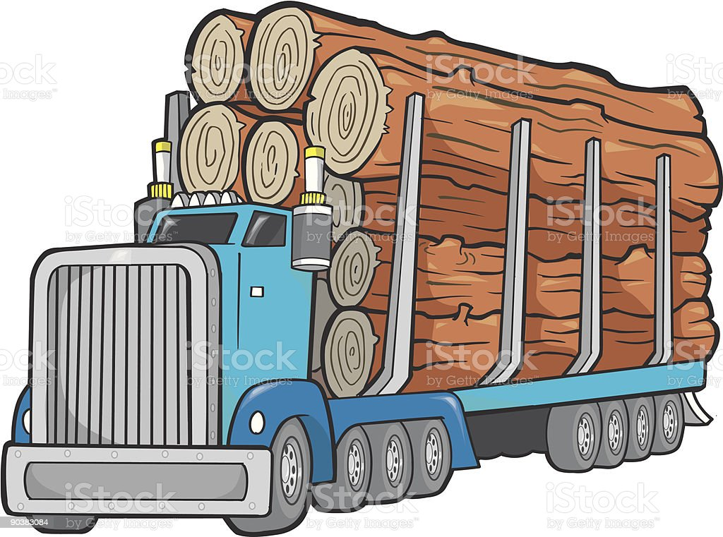 Giant Logging Truck Vector Illustration royalty-free stock vector art