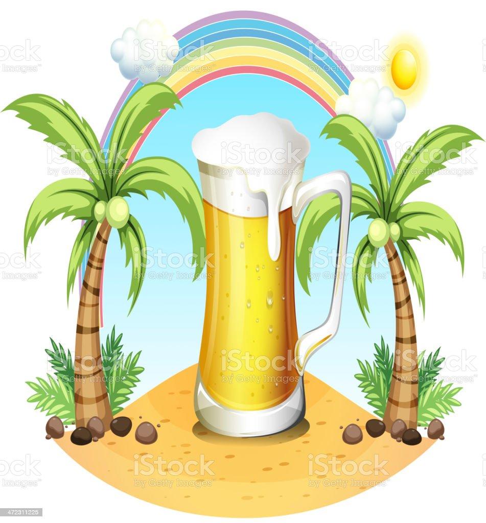 Giant mug of beer near the coconut trees royalty-free stock vector art