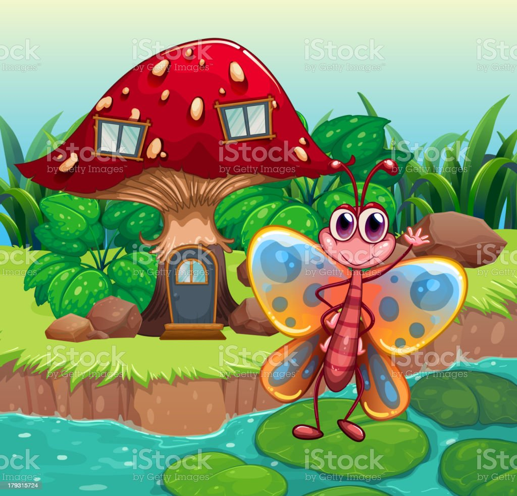 Giant mushroom house near the river with a butterfly royalty-free stock vector art
