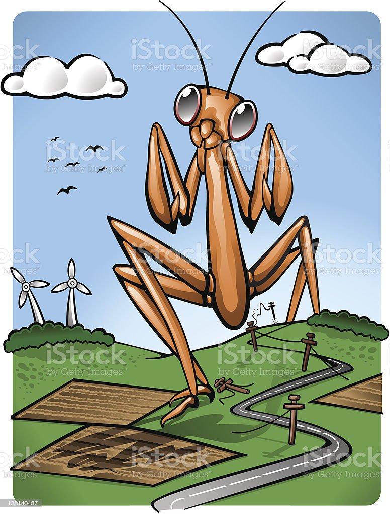 Giant mutant locust in peaceful landscape (vector) royalty-free stock vector art