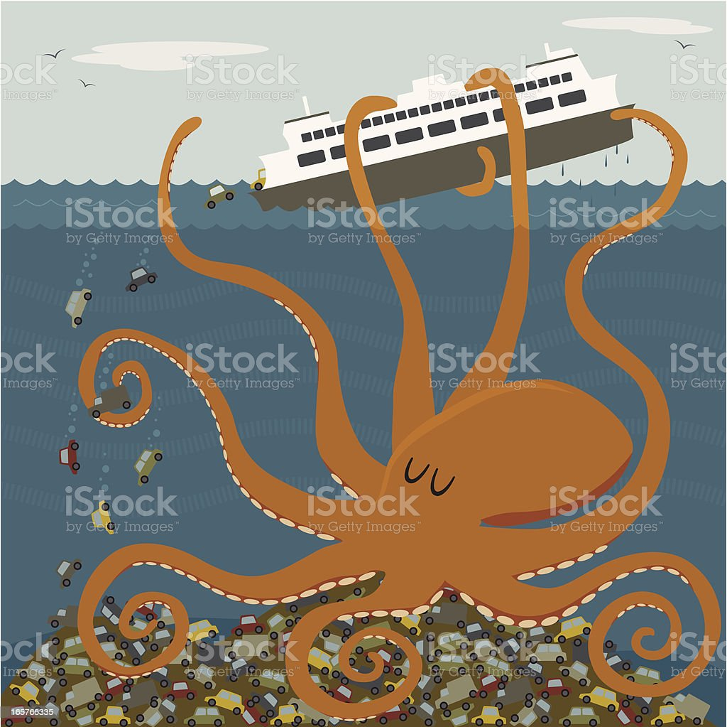 Giant octopus tipping a ferry royalty-free stock vector art