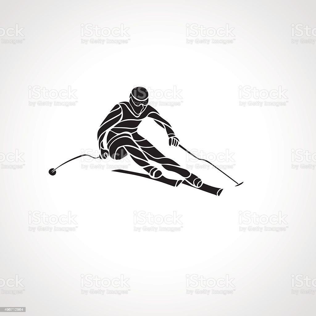 Giant Slalom Ski Racer silhouette. Vector illustration vector art illustration