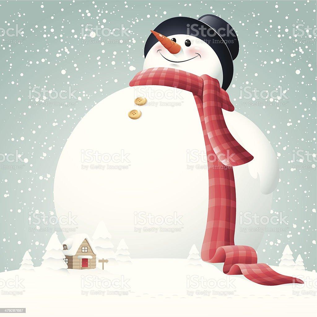 Giant Snowman vector art illustration