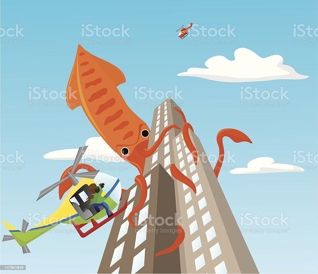 Giant squid attacks skyscrapers royalty-free stock vector art