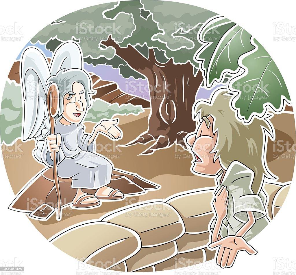 Gideon and the angel vector art illustration
