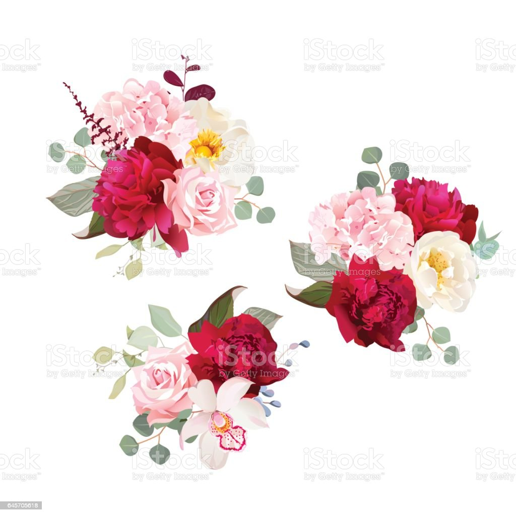 Gift bouquets of rose, peony, green and pink hydrangea, orchid a vector art illustration