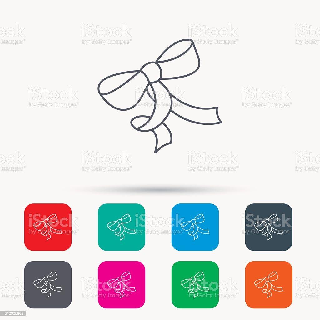 Gift bow icon. Present decoration sign. vector art illustration