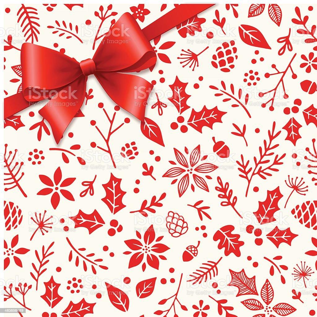 Gift Bow Over Seamless Patten vector art illustration