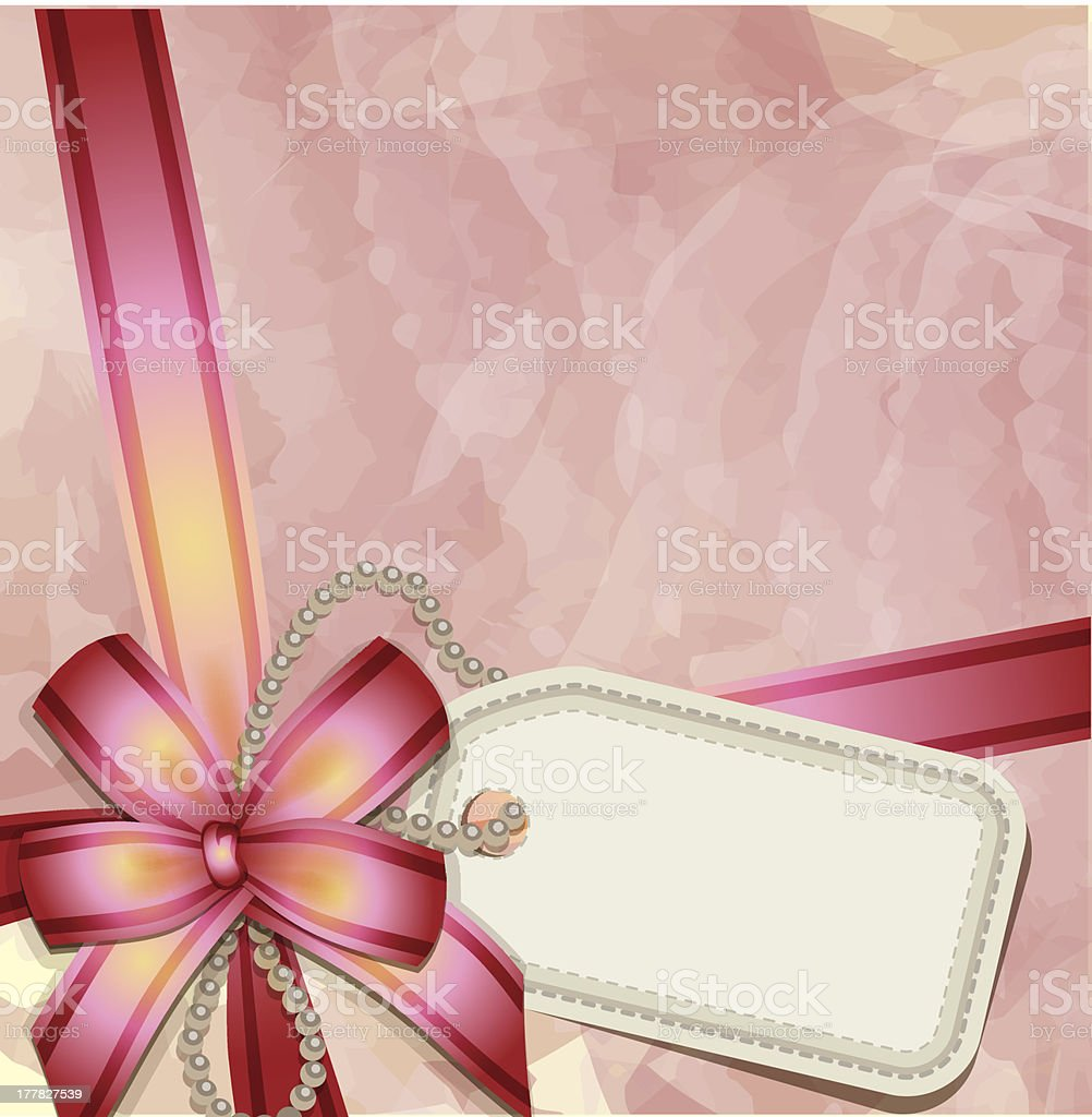 Gift bow with a blank tag vector art illustration