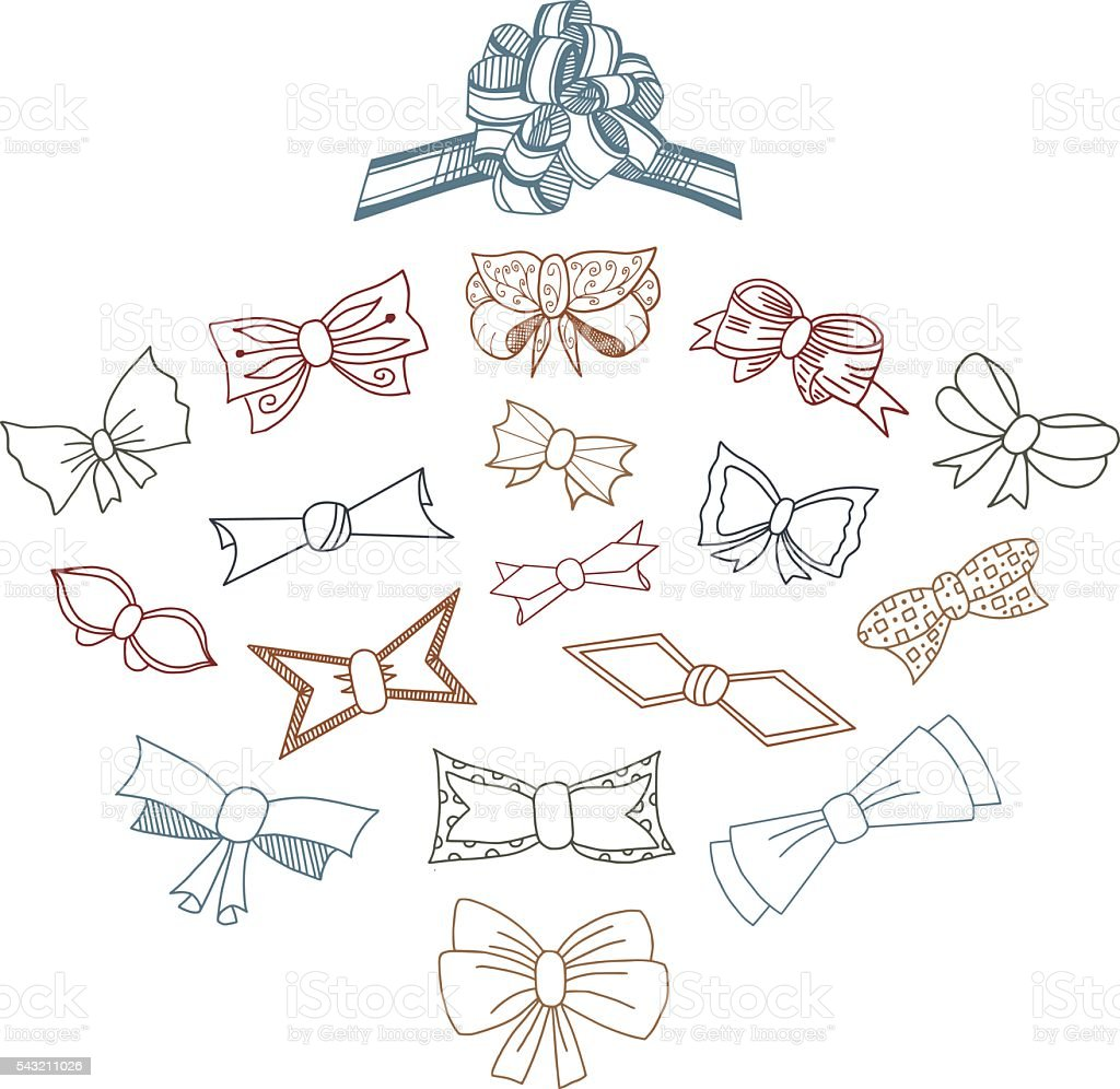 Gift Bows Doodle Set vector art illustration