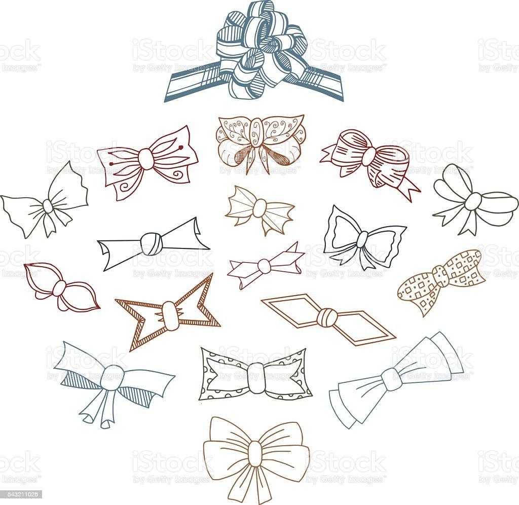 Gift Bows Doodle Set vector art illustration