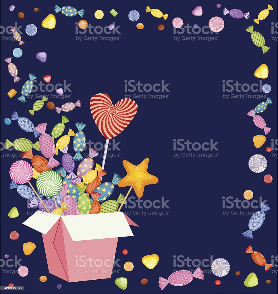 Gift Box and Candies, Lollipops royalty-free stock vector art