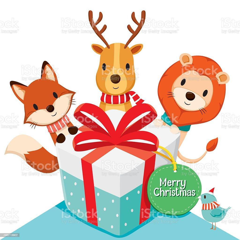 Gift box and Deer, Fox, Lion, Bird vector art illustration