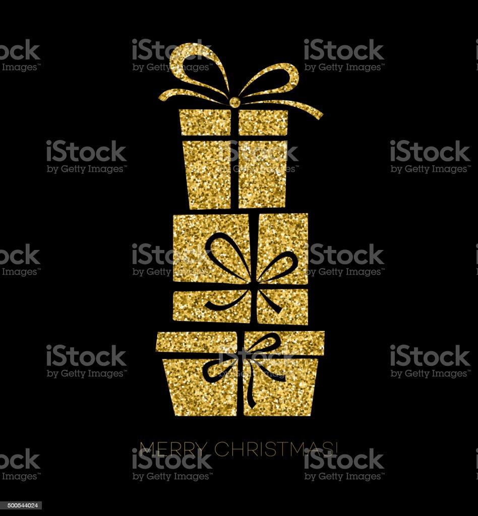 Gift box Christmas card vector art illustration