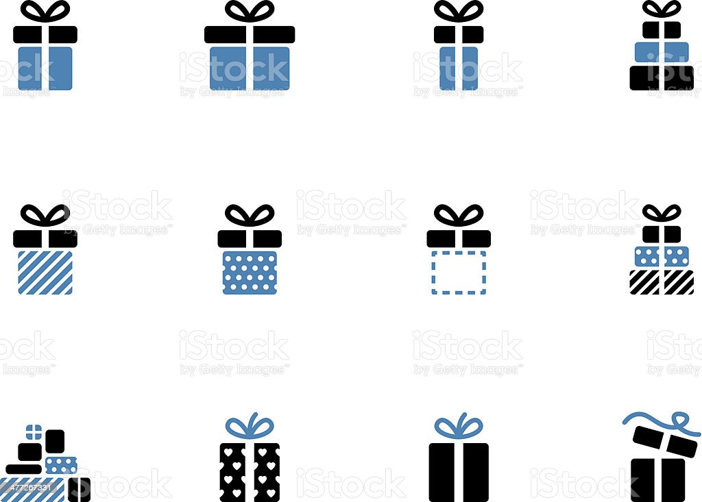 Gift box duotone icons on white background. royalty-free stock vector art