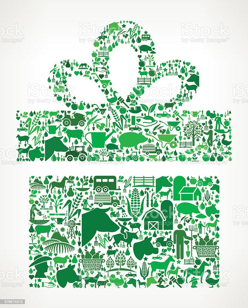 Gift Box Farming and Agriculture Green Icon Pattern vector art illustration