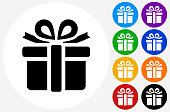 Gift Box Icon on Flat Color Circle Buttons