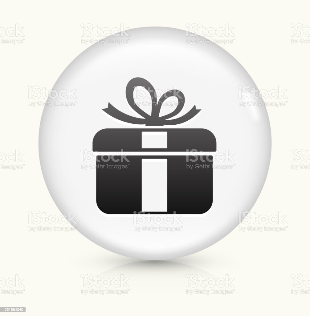 Gift Box icon on white round vector button vector art illustration