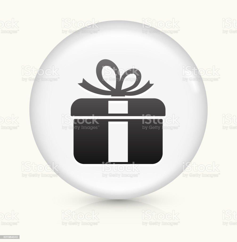 Gift Box icon on white round vector button vector art illustration