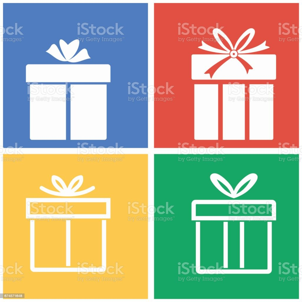 Gift Box icon set. vector art illustration