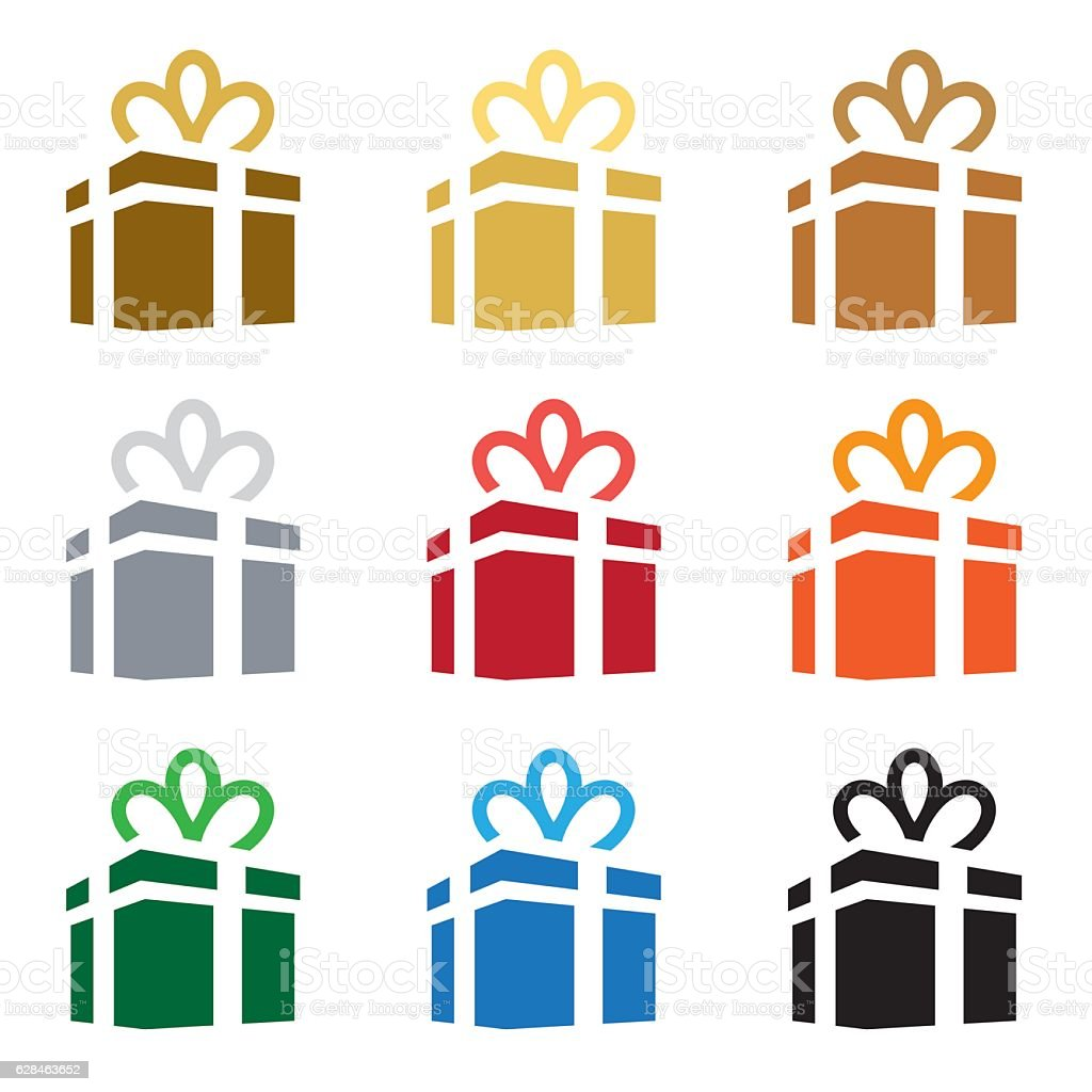 Gift box icon set. Vector vector art illustration