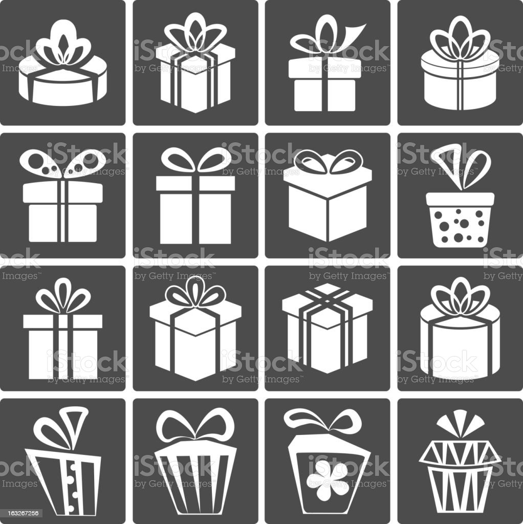 Gift Box Icons royalty-free stock vector art