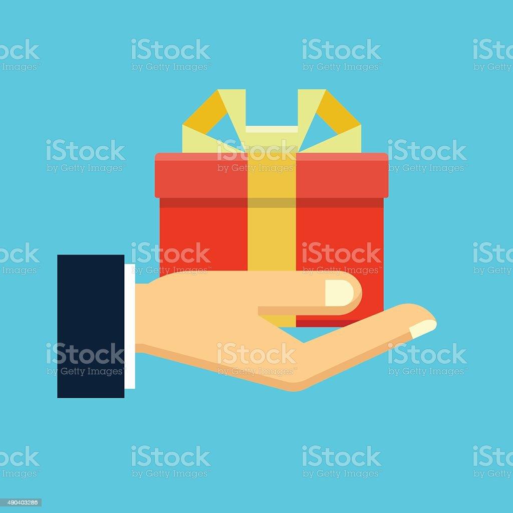 Gift box in hand vector art illustration
