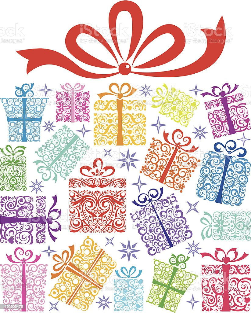 Gift Box made of Gifts royalty-free stock vector art
