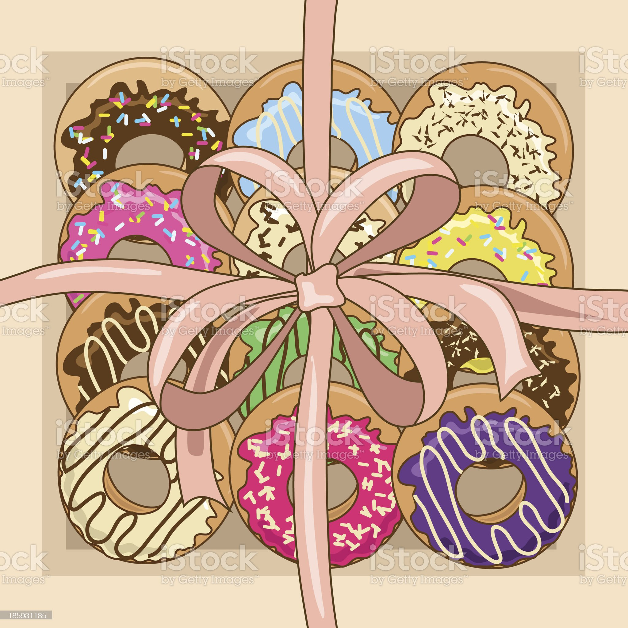 Gift box of donuts royalty-free stock vector art