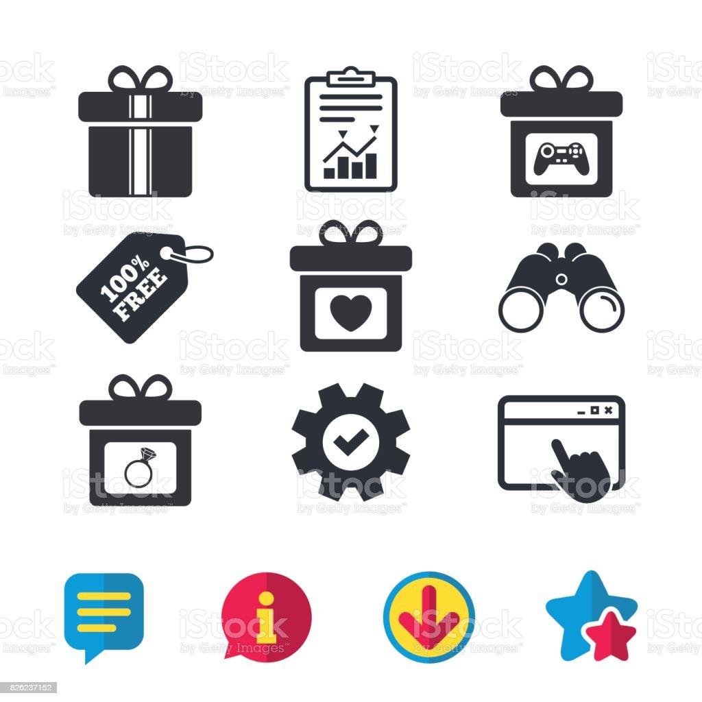 Gift box sign icon. Present symbol. vector art illustration