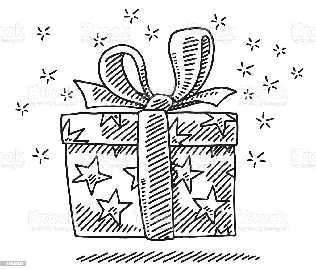 Gift Box Surprise Drawing vector art illustration
