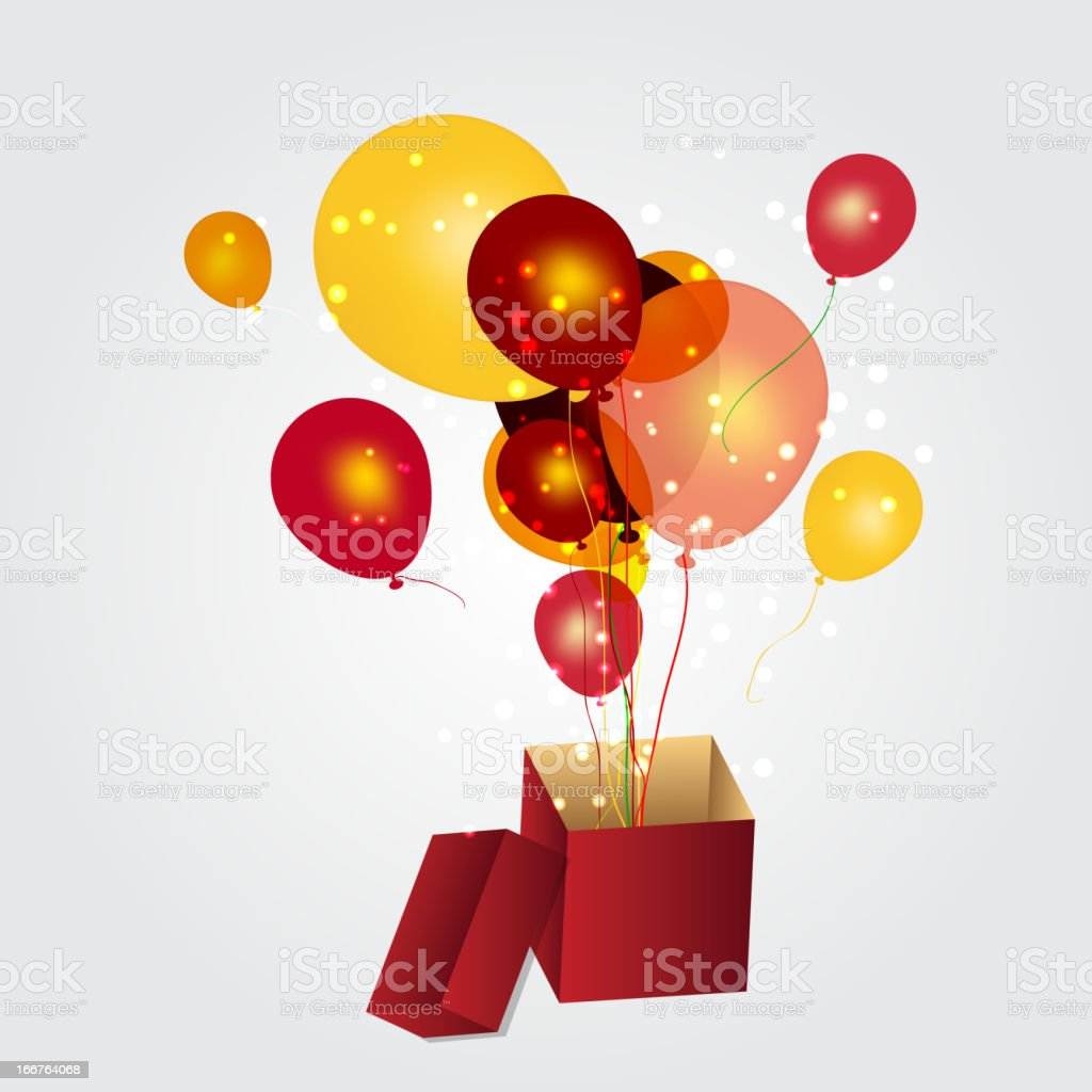 gift box with balloons vector illustration royalty-free stock vector art