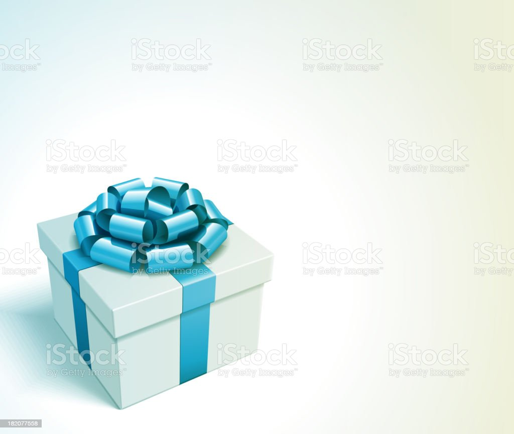 Gift box with bow and light. Christmas card or invitation. vector art illustration